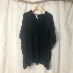 Lovestitch Black Hooded Poncho Knit Tunic Top